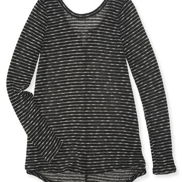 Aeropostale  Womens Long Sleeve Stitch Stripe Boxy Top