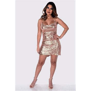 Sequins Cowl Neck Open Back Dress Rose Gold
