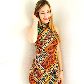 Turn Up The Volume Dress- Multi