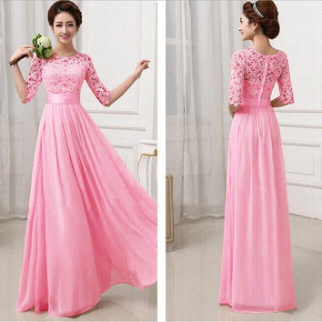 Cheap Long Lace Long Maxi Dress Summer Style Half Sleeve Floor Length White Dress Sweeheart Prom Party Dress 5 Color