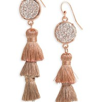Panacea Faux Drusy Stacked Tassel Statement Earrings | Nordstrom