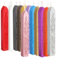 Hot Colorful Candle Square Style Sealing Wax Stick Wax with Wick 5 in 1 Set E2shopping