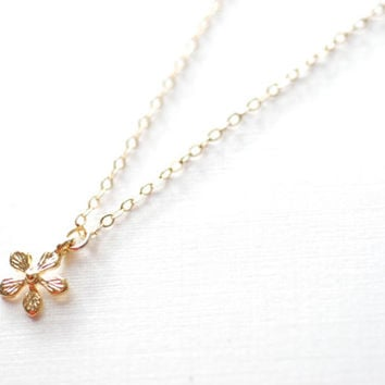 Flower necklace - gold lotus flower necklace - yoga necklace, dainty jewelry by heirloomenvy