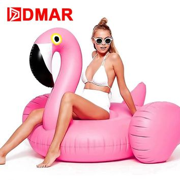 """DMAR 150CM 59"""" Giant Inflatable Flamingo Pool Float Toys Swimming Ring Circle Beach Sea Inflatable Mattress Party Best Gift"""