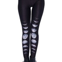 Romwe Women's The Process of Eclipse Patterns Print Polyester leggings