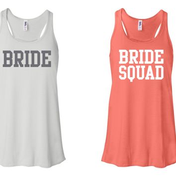 """""""Bride"""" & """"Bride Squad"""" Flowy, Racerback Tank White and Coral"""