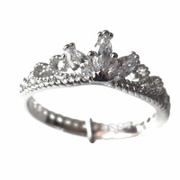 White Gold Plated CZ Delicate Crown Ring