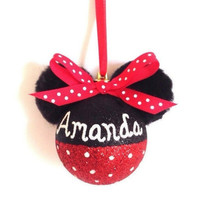 Handmade Personalized Glitter Minnie Mouse  Polka Dot Christmas Ornament - 60mm Shatterproof Bulb