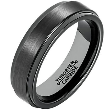 6MM Tungsten Carbide Black Wedding Band Brushed Matte Finish Polished Edge Engagement Ring