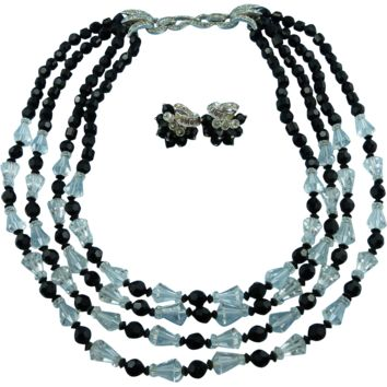 Signed Boucher Faceted Crystal And Silver Tone Four Strand Statement Necklace & Matching Earrings.