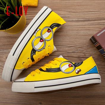 E-LOV Cartoon Printed Shoes Women Casual Shoes Lovely Despicable Me Minions Cross-tied Customized Design Cute Kawaii Shoes