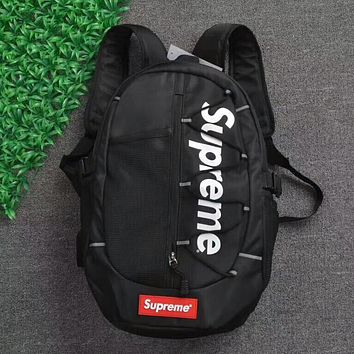 Supreme Trending Stylish Large Capacity Canvas Backpack College High School Bag Travel Bag Black I-AA-XDD