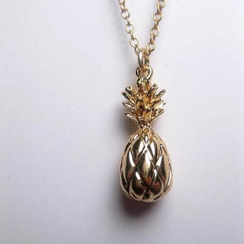 Gold Pineapple Necklace 24k Gold Plated - Tropical Necklace - Pendant - Custom Length Chain - Fruit - Hawaii