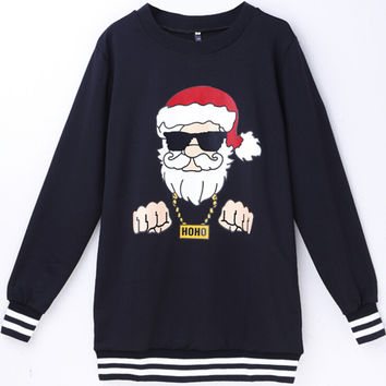 Long Sleeve Sweatshirts Ugly Christmas Sweater Christmas Pattern Print Round-neck Hoodies [9440717700]