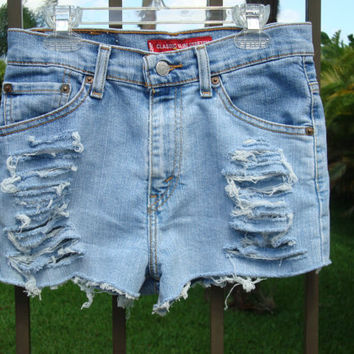 High Waisted Levi Shorts Denim Jean sz 26 by shortyshorts on Etsy