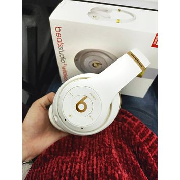 Fashion Beats Solo 3 Wireless Magic Sound Bluetooth Wireless Hands Headset MP3 Music Headphone With Microphone Line-in Socket TF Card Slot For Women Men White