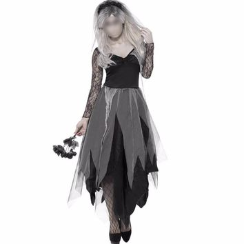 Halloween Dress Ghost Costumes Women Scary Clothes SaintsDay Fantasia Dress Witch Costume Skeleton Festival Cosplay