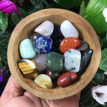 4in Teak Wood Bowl Filled With 18 Tumbled Stones #5