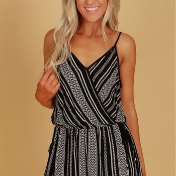 Criss Cross Tie Print Romper Black