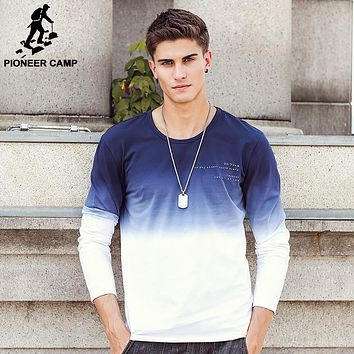 New Arrive Men T Shirts Fashion O-Neck casual Long Sleeve T-Shirt Gradient Clothing T Shirt Home