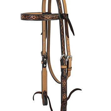 Turquoise Cross 45-0100 Floral Tooled Browband Headstall, Horse Size, Light Oiled