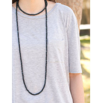 Black Beaded Double Wrap Necklace