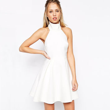 Halter Open-Back Skater Dress