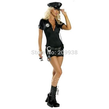 Women Black Sexy Police Costume Cosplay Halloween Costumes for women Fantasia Cosplay Fancy Dress
