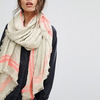 Pieces Lightweight Woven Scarf with Neon Trim at asos.com