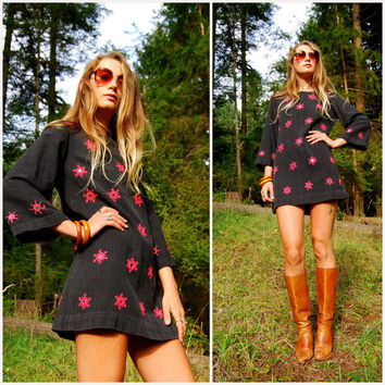 70's Boho Embroidered Dress, Vintage Cotton Indian Dress, Black + Pink Mirrored Ethnic Mini Dress Tunic, A Line Bell Sleeve Baby Doll Medium