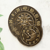SPI Home Collection Sun and Moon Clock and Thermometer