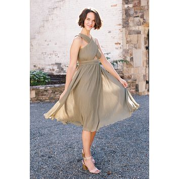 Love Somebody Cross Over Front Pleated Midi Dress, Green Leaf