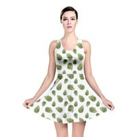 Leaves Motif Nature Pattern Reversible Skater Dress