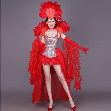 New fashion Women's belly dance clothing Night dance Sexy Samba Rio Carnival Costume belly dance costume with Feather Head piece