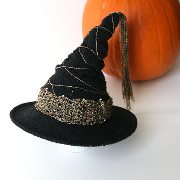 Baby Witch Hat Halloween Theme Photo Props Cute Baby Hats by Mila Black and Gold Witch Hat Crochet Halloween Toddler Hat Newborn Photography