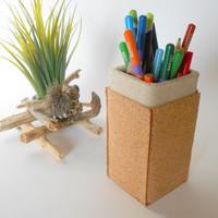Pencil Holder- Cork Pencil Holder with burlap fabric, Home desk organizer made of organic materials , eco-friendly pen holder