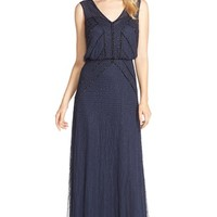 Women's Aidan Mattox Beaded Mesh Blouson Gown,