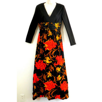 1960's Maxi Dress with Neon Orange Quilted Flowers and Black Sequin Embellishment
