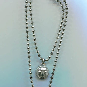 moon face ball chain necklace pendant silvertone unisex handmade costume jewelry