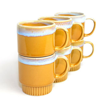 Retro Stacking Coffee Mugs (Set of 6) - Ceramic, Drip Glaze Rims in Light Pastel Blue, Caramel Colored Brown - Vintage Home Decor