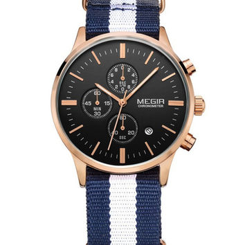 Megir Yachtsman Chrono (White/Navy/Gold)