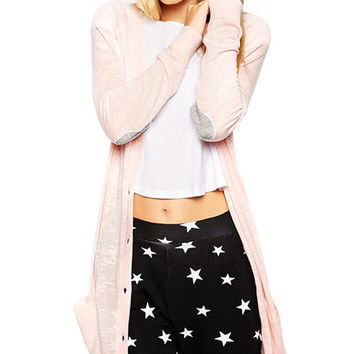 Elbow Heart Shape Embroidered Long Sleeve Cardigan