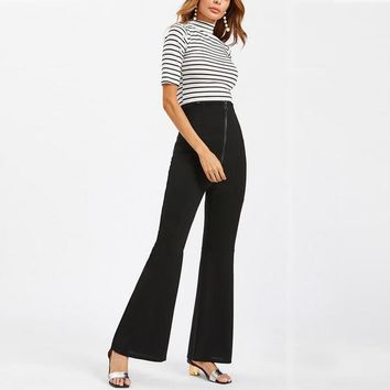 Women Fitted OL Party Zip Bell Bottom Trousers 2017 New Solid Casual Skinny High Waist Fashion Long Flared Pants Pantalones