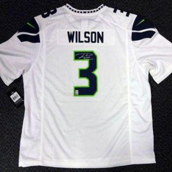 LMFON Russell Wilson Signed Autographed Seattle Seahawks Football Jersey (Russell Wilson Authenticated)