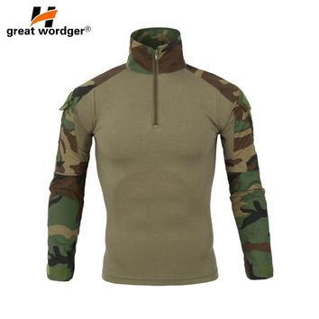 Outdoor T-shirt Men Military Camouflage T-Shirt Long Sleeve T-shirts For Fishing Tees Hiking Camping Man Clothes