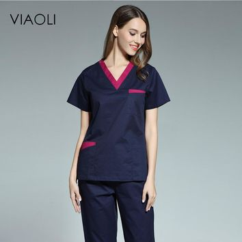 Viaoli 2017 new women's short-sleeved medical scrub uniform