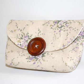 Small Linen Clutch, Cell Phone Cozy, Floral Japanese Linen, The Cameran Clutch, Beige, Purple, iPhone