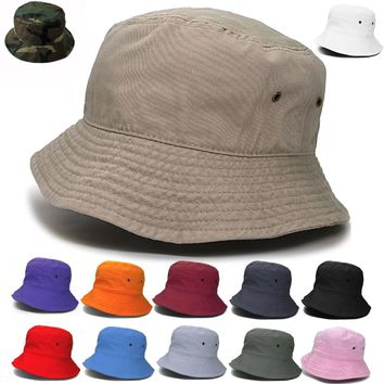Mens Women Unisex Washed Cotton, Foldable Plain Bucket Hat For Summer