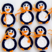 Crochet Applique Penguin 2pcs - From Cotton Yarn- Supplies For Clothing, Hair Clips, Handbags