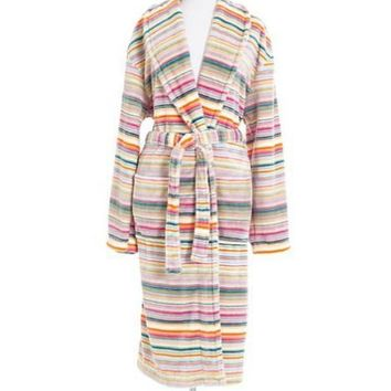 Selke Fleece Hooded Robe | Blossom Stripe